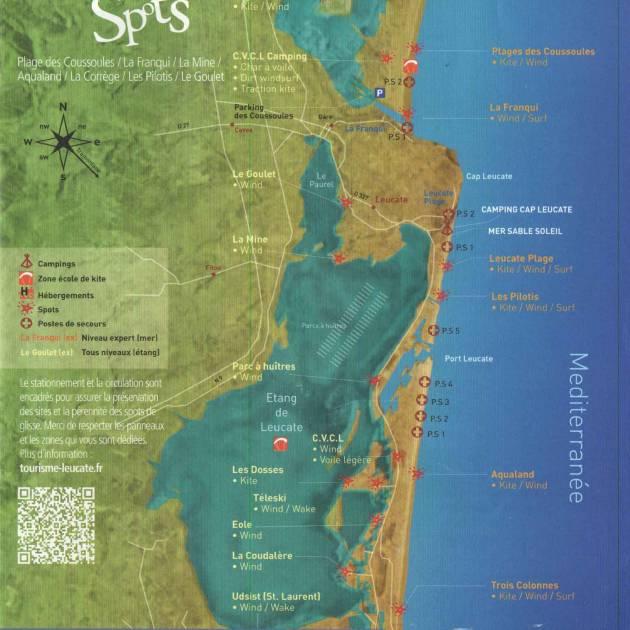 Les zones de navigation en kitesurf sur Leucate